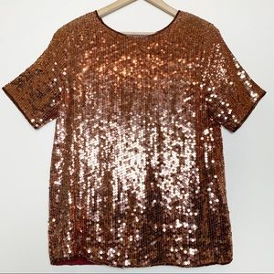 Vintage effeci Rose Gold Beaded Sequined Blouse